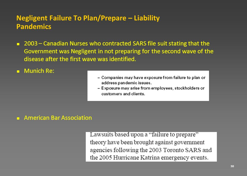 Negligent Failure To Plan/Prepare – Liability Pandemics