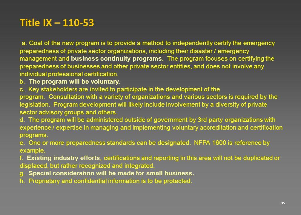 Title IX – 110-53