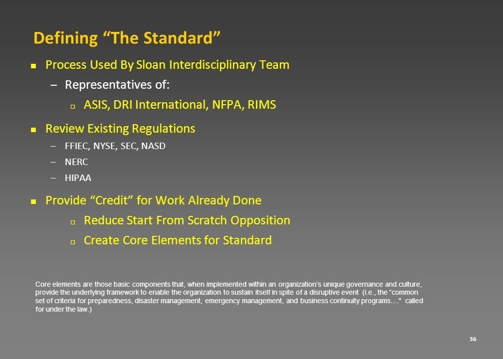 Defining The Standard