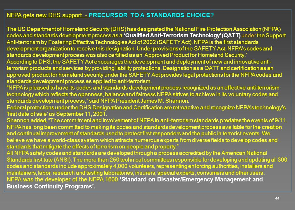 NFPA gets new DHS support - PRECURSOR TO A STANDARDS CHOICE