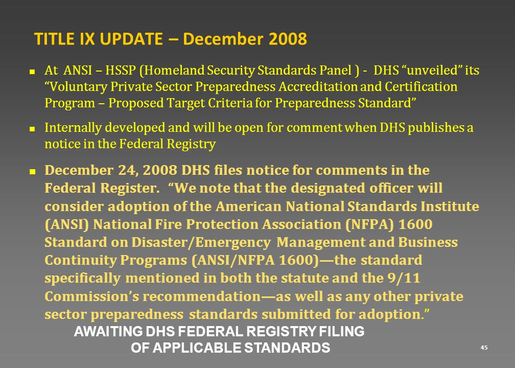 TITLE IX UPDATE – December 2008
