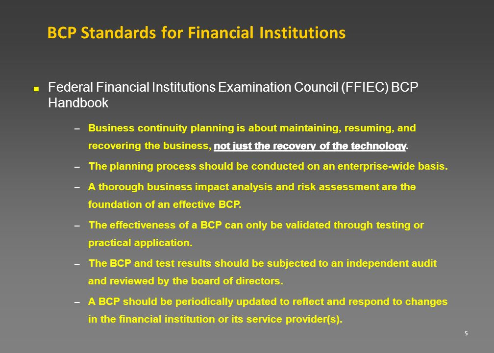 BCP Standards for Financial Institutions