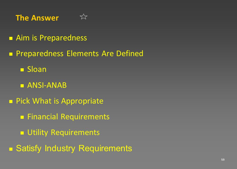 The AnswerAim is Preparedness. Preparedness Elements Are Defined. Sloan. ANSI-ANAB. Pick What is Appropriate.