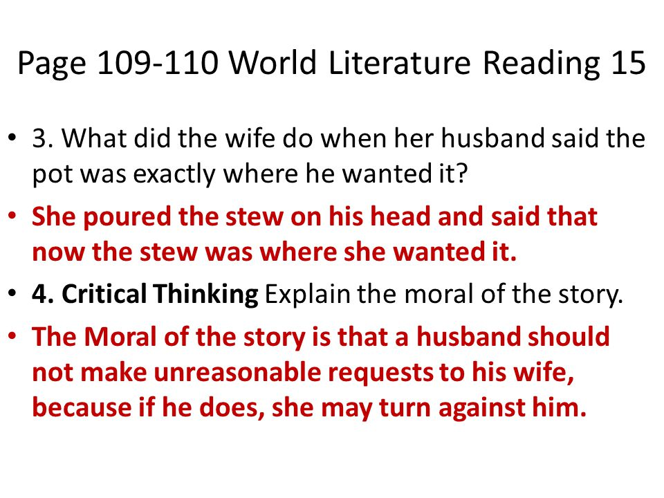Page 109-110 World Literature Reading 15