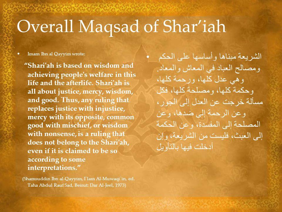 Overall Maqsad of Shar'iah