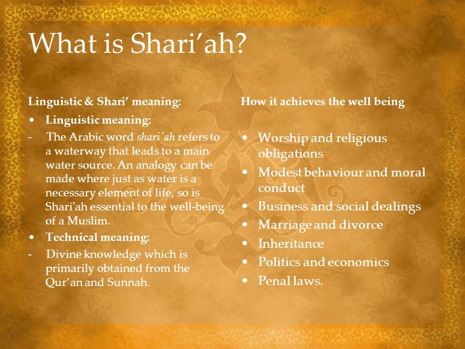 What is Shari'ah Worship and religious obligations