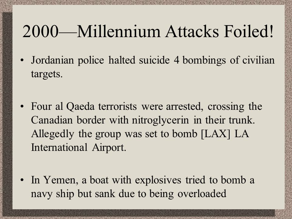 2000—Millennium Attacks Foiled!