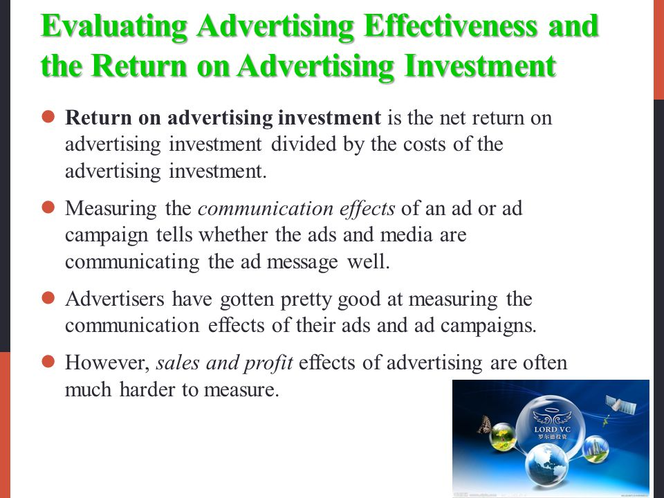 Evaluating Advertising Effectiveness and the Return on Advertising Investment