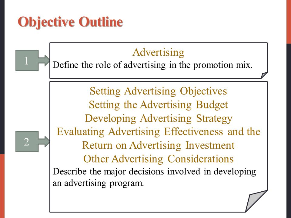 Objective Outline Advertising 1 Setting Advertising Objectives