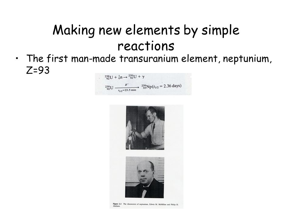 Making new elements by simple reactions