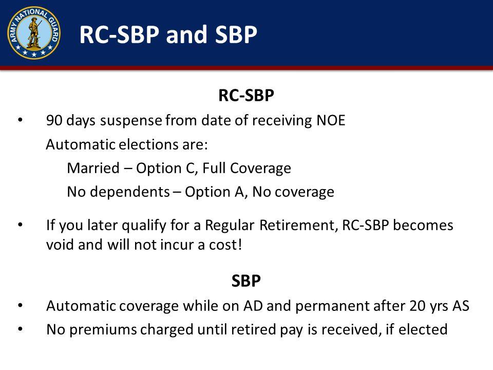 RC-SBP and SBP RC-SBP SBP 90 days suspense from date of receiving NOE