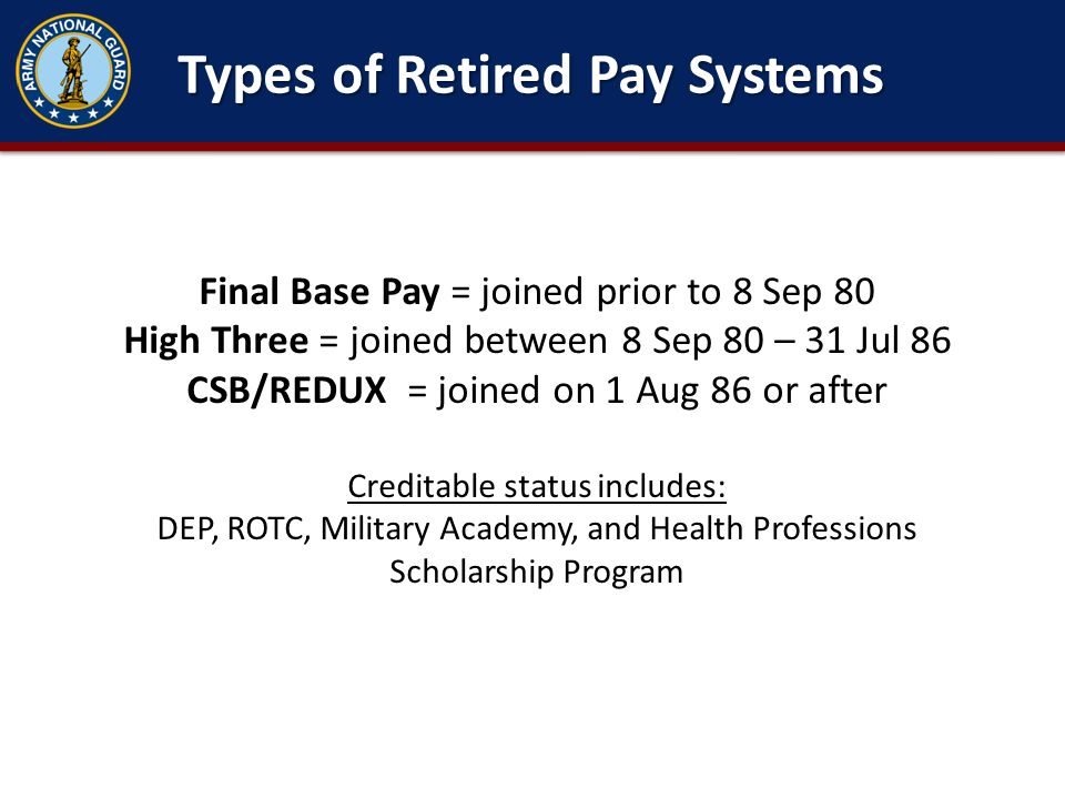 Types of Retired Pay Systems
