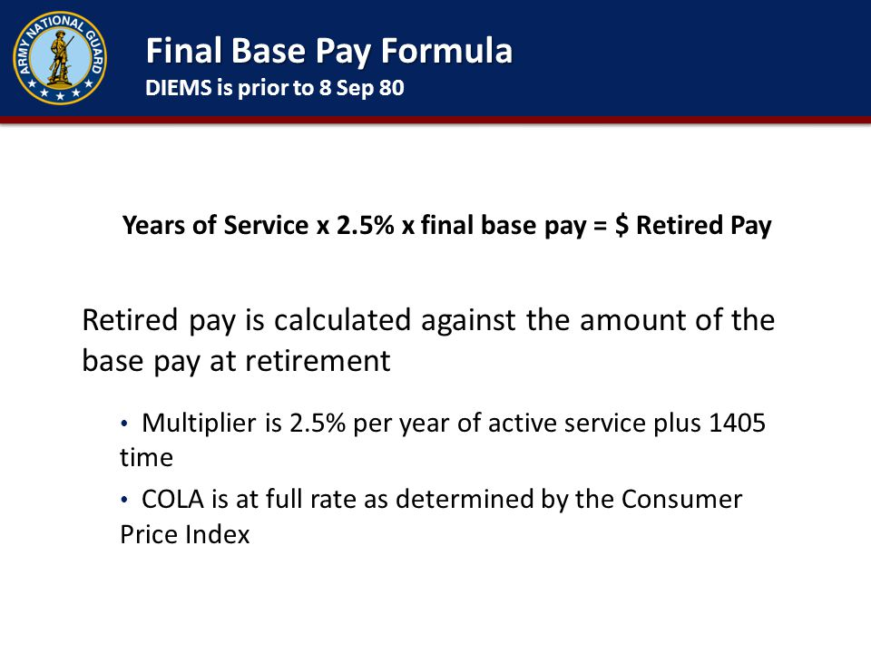 Final Base Pay Formula DIEMS is prior to 8 Sep 80