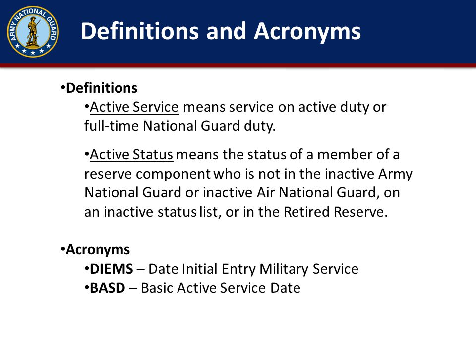 Definitions and Acronyms