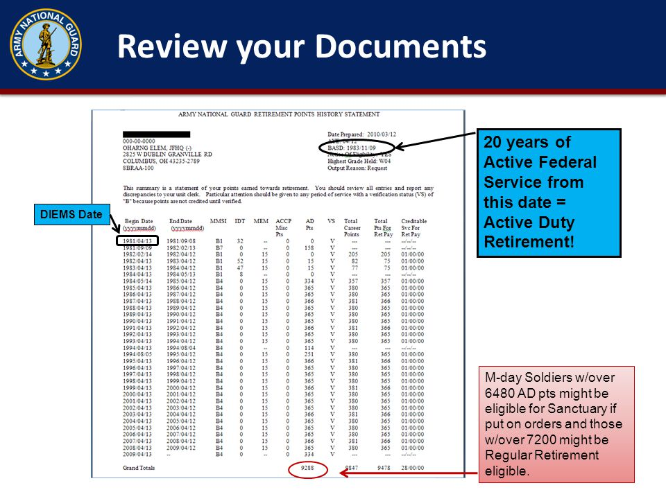 Review your Documents 20 years of Active Federal Service from this date = Active Duty Retirement! DIEMS Date.