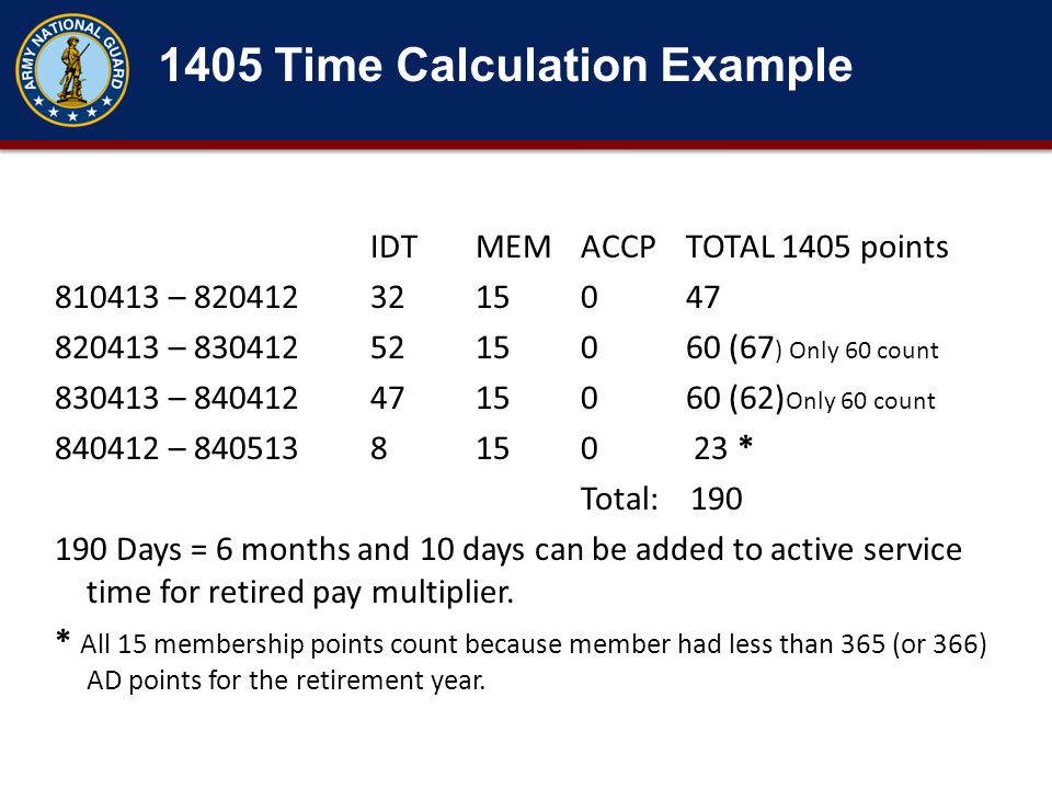 1405 Time Calculation Example