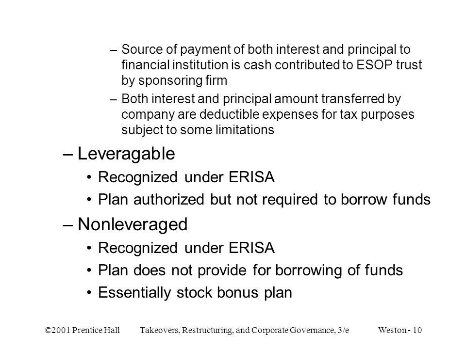 Leveragable Nonleveraged Recognized under ERISA