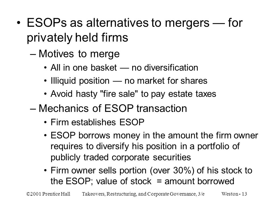 ESOPs as alternatives to mergers — for privately held firms