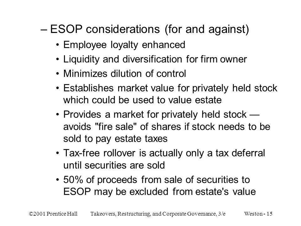 ESOP considerations (for and against)