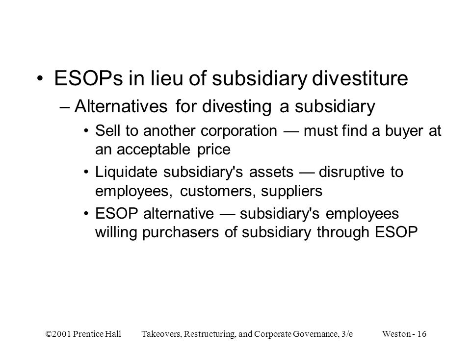 ESOPs in lieu of subsidiary divestiture