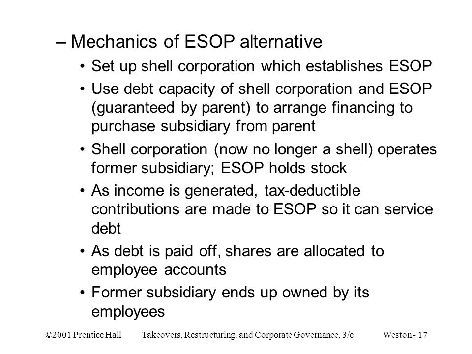 Mechanics of ESOP alternative