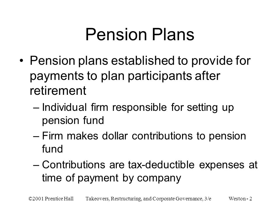 Pension Plans Pension plans established to provide for payments to plan participants after retirement.