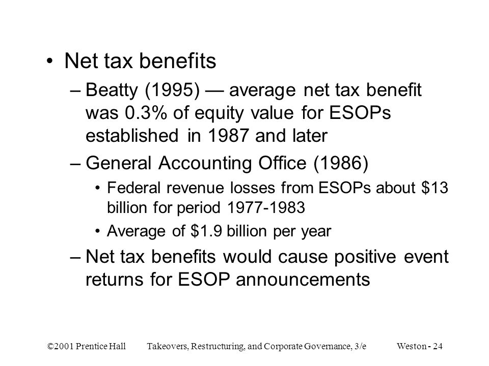 Net tax benefits Beatty (1995) — average net tax benefit was 0.3% of equity value for ESOPs established in 1987 and later.