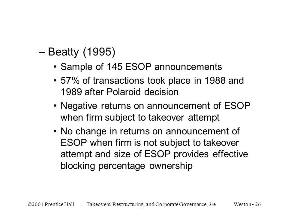 Beatty (1995) Sample of 145 ESOP announcements