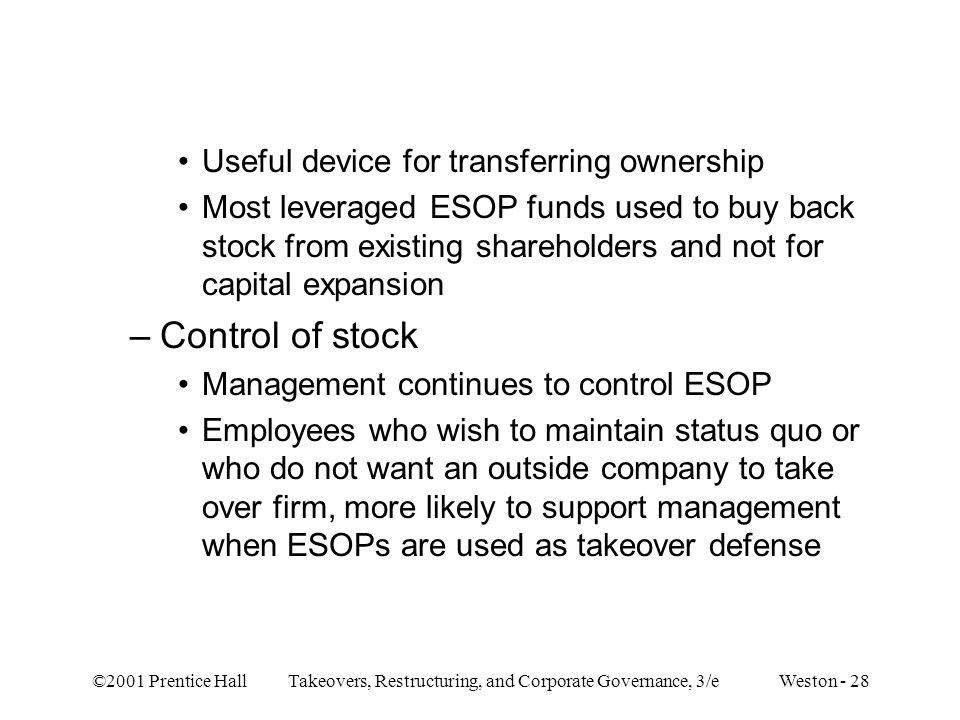 Control of stock Useful device for transferring ownership