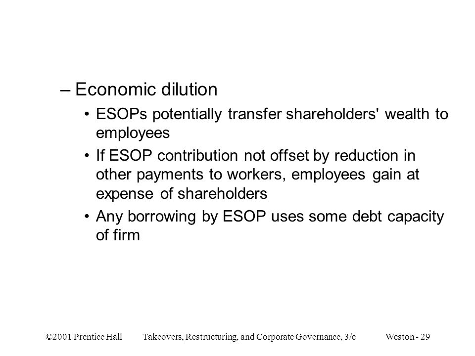 Economic dilution ESOPs potentially transfer shareholders wealth to employees.