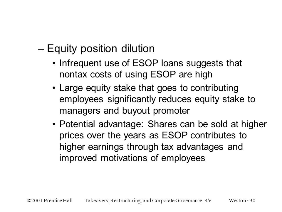 Equity position dilution