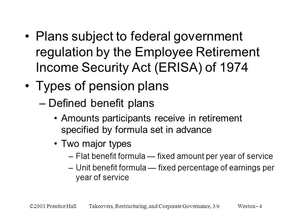 Plans subject to federal government regulation by the Employee Retirement Income Security Act (ERISA) of 1974