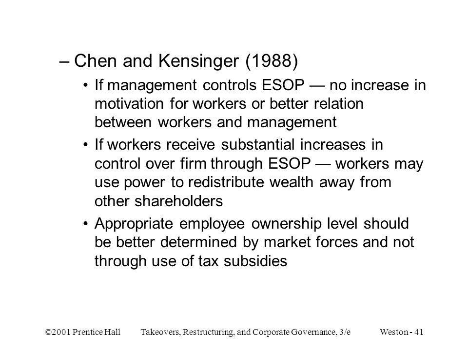 Chen and Kensinger (1988) If management controls ESOP — no increase in motivation for workers or better relation between workers and management.