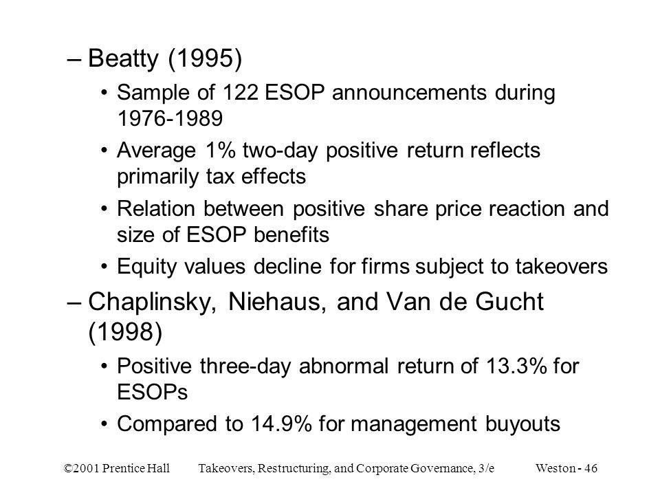 Chaplinsky, Niehaus, and Van de Gucht (1998)
