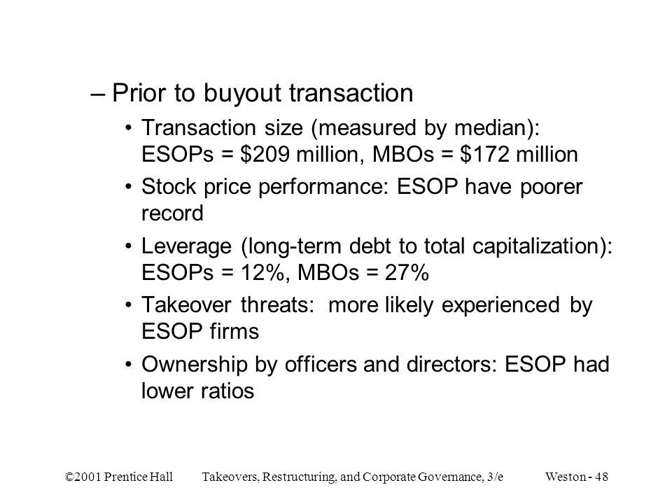 Prior to buyout transaction