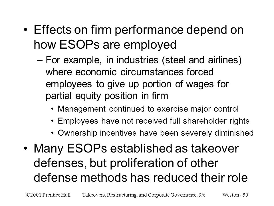 Effects on firm performance depend on how ESOPs are employed
