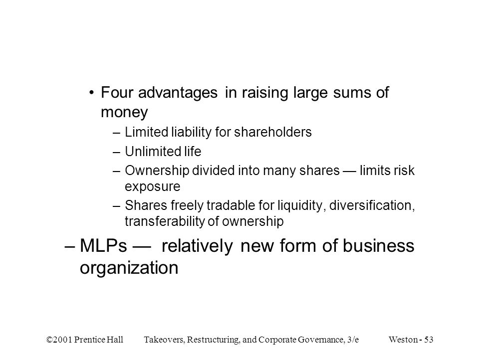 MLPs — relatively new form of business organization