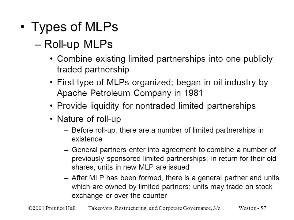 Types of MLPs Roll-up MLPs