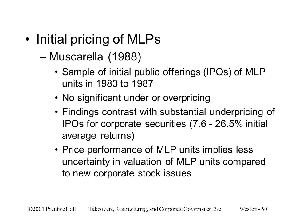 Initial pricing of MLPs