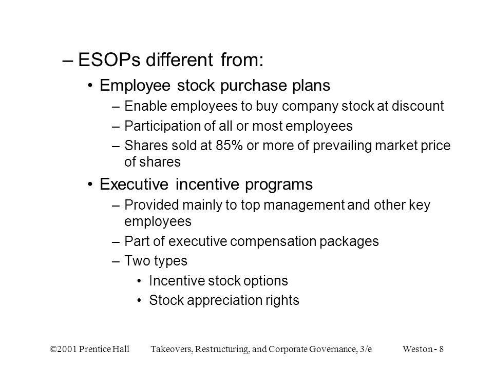 ESOPs different from: Employee stock purchase plans