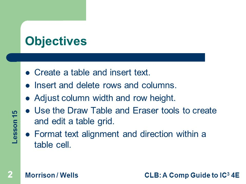 Objectives Create a table and insert text.