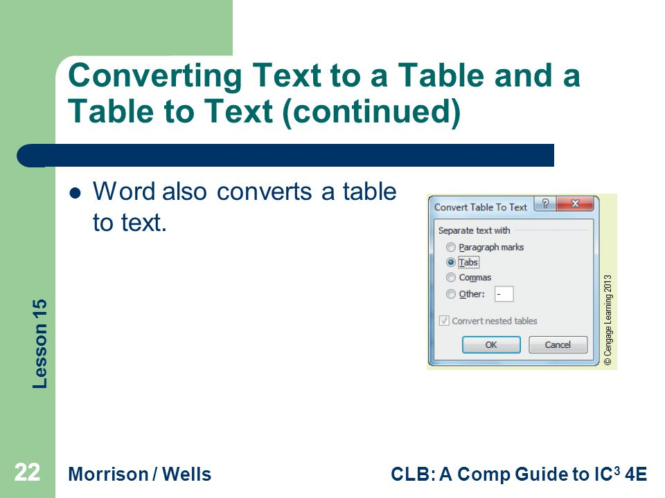 Converting Text to a Table and a Table to Text (continued)