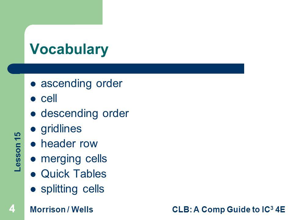Vocabulary ascending order cell descending order gridlines header row