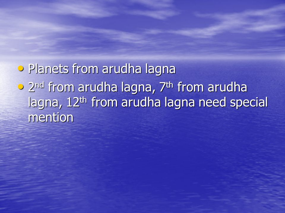 Planets from arudha lagna