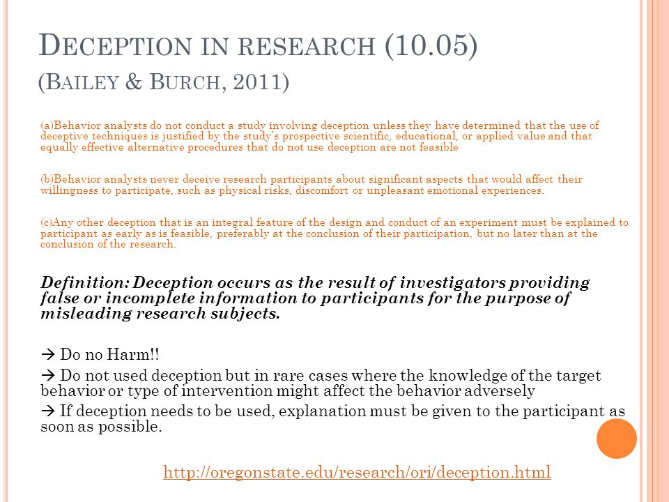 Deception in research (10.05)