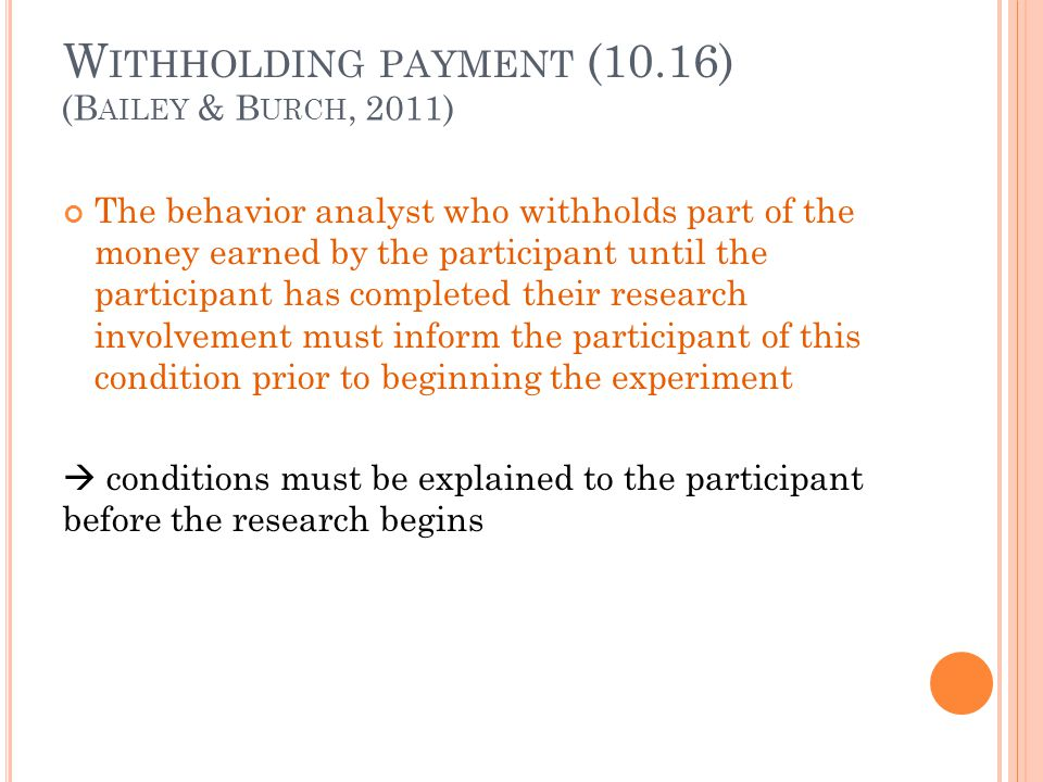 Withholding payment (10.16)