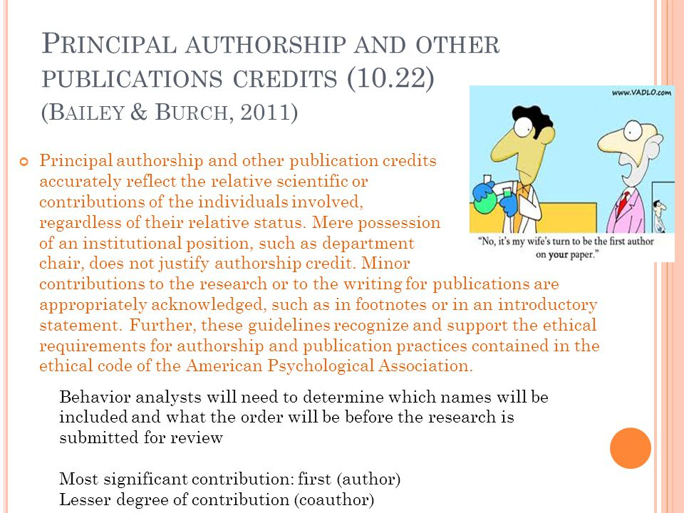 Principal authorship and other publications credits (10.22)