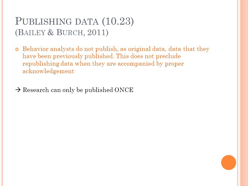 Publishing data (10.23) (Bailey & Burch, 2011)