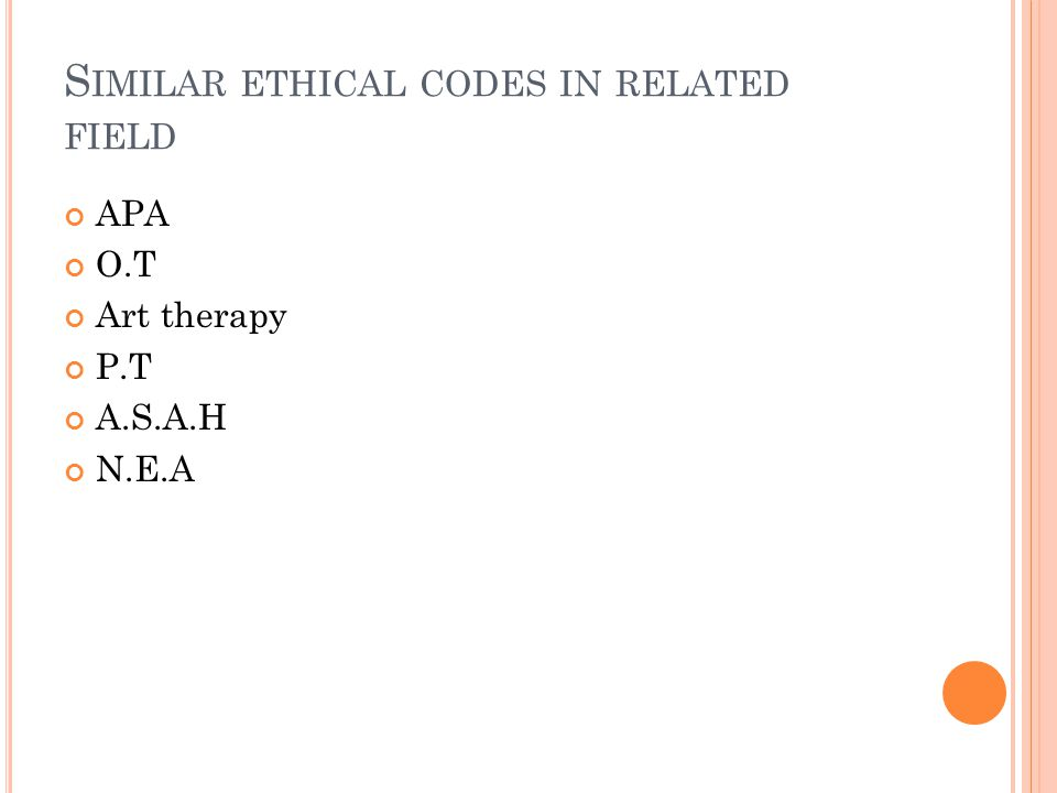 Similar ethical codes in related field