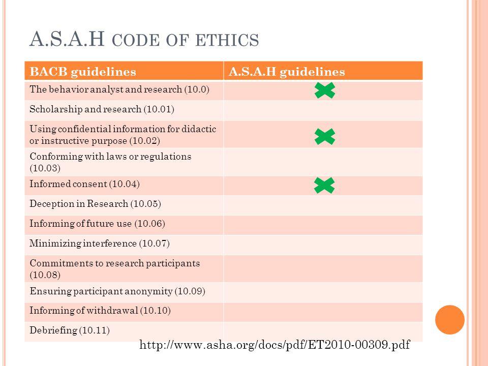 A.S.A.H code of ethics BACB guidelines A.S.A.H guidelines